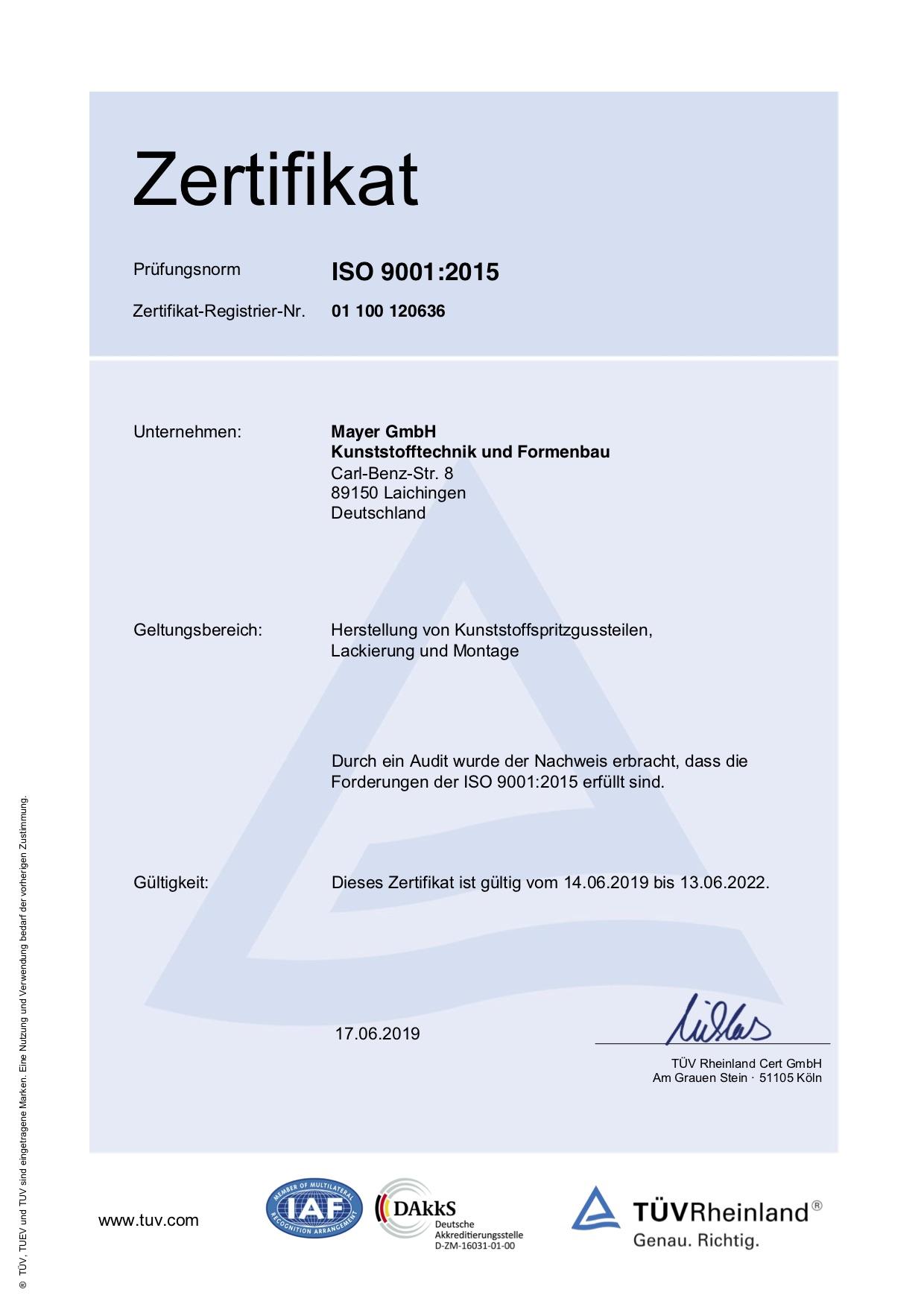 Mayer GmbH, Laichingen –Zertifikat ISO 9001, 2015